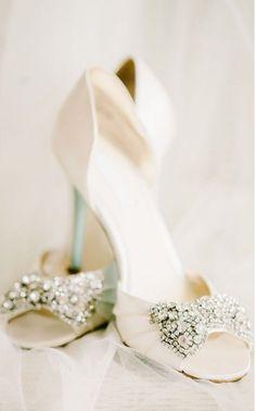 Love the sparkly bows on these Betsey Johnson Bridal shoes! Love the sparkly bows on these Betsey Johnson Bridal shoes! Wedding Heels, Mod Wedding, Ivory Wedding, Dream Wedding, Bridal Heels, Wedding Music, Glamorous Wedding, Church Wedding, Spring Wedding