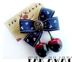 Rockabilly Psychobilly Pinup Sailor Bow and Red Cherries Hair Clip