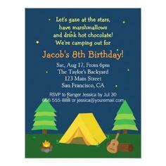 Backyard Sleepover Camping Birthday Party For Boys Personalized Invitation