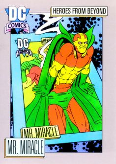 Mister Miracle DC Comics Trading Cards by Kevin Maguire and Ty Templeton. Dc Comics Characters, Dc Comics Art, Justice League, Comic Books Art, Book Art, Big Barda, New Gods, Comics Universe, Comic Character