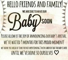 Birth impending announcement etiquette