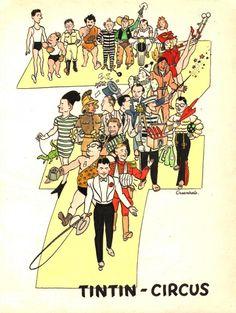 Planche BD Originale, galerie Napoléon  : TINTIN - Illustration originale de François CRAENHALS pour la 7e année du Journal de TINTIN : TINTIN Circus -