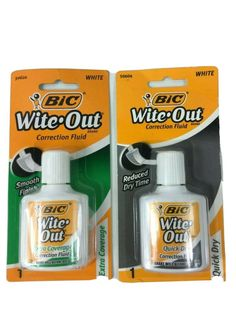 Bic Wite Out Correction Fluid Quick Dry And Extra Coverage 2 Pack Wite Out, Correction Fluid, Quick Dry, Cleaning Supplies, Smoke, Free, Ebay, Cleaning Agent, Smoking