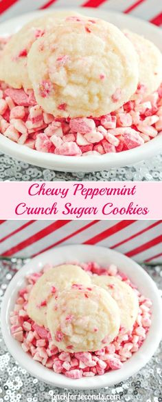 These Peppermint Crunch Sugar Cookies are perfectly chewy with a crisp edge. The addition of peppermint crunch chips makes these a perfect Christmas cookie! Köstliche Desserts, Holiday Cookies, Holiday Baking, Christmas Desserts, Christmas Baking, Delicious Desserts, Dessert Recipes, Christmas Recipes, Christmas Treats
