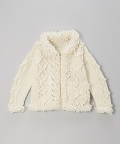 Ecru Magnolia Wool Zip-Up Sweater - Toddler & Girls by Little Cotton Dress #zulily #zulilyfinds
