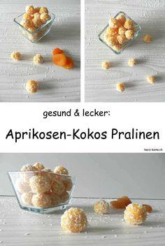 Leckeres Rezept für selbstgemachte Aprikosen-Kokos Pralinen. Zaubere aus gedörrten Aprikosen und Koksraspeln ganz einfach superleckere und dazu noch gesunde Pralinen - zum selber essen oder zum verschenken. Ein perfektes DIY Geschenk aus der Küche.