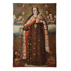 A Spanish Colonial, Century Madonna and Child. Colonial Art, Spanish Colonial, Madonna And Child, Religious Art, 18th Century, Mexican, Painting, Paintings, Lds Art