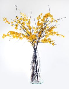 Nearly Natural Artificial Silk Yellow Dancing Orchid Fake Flower Arrangement   YesBride