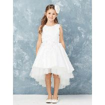 Satin High Low First Communion Dress Features Floral Lace Applique and Tulle Hemline. Buy First Communion Dresses for Sale Online Girls First Communion Dresses, Holy Communion Dresses, First Holy Communion, Dresses For Sale, Girls Dresses, Flower Girl Dresses, Our Girl, Buy Dress, Floral Lace