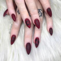 Celebrate the moon phases with handpainted black white and gray nail art. Celebrate the moon phases with handpainted black white and gray nail art. Grey Nail Art, Gray Nails, Nail Art Diy, Pastel Nails, Halloween Nail Designs, Halloween Nails, Deep Red Nails, Red Black Nails, Gothic Nail Art
