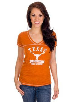 Texas (UT) Longhorns Women's V-Neck Orange Shirt