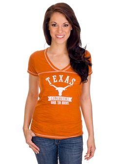 Texas (UT) Longhorns Women's V-Neck Orange Shirt