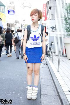 Adidas Top, Mini Skirt & Isabel Marant Sneakers