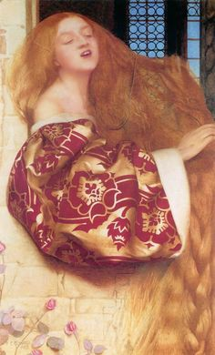 """Frank Cadogan Cowper, Rapunzel, 1900. """"Rapunzel"""" is a German fairy tale in the collection assembled by the Brothers Grimm, and first published in 1812 as part of Children's and Household Tales."""
