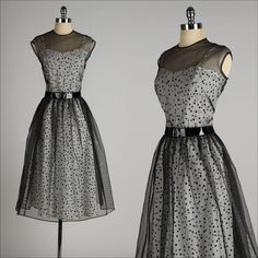 ➳ vintage 1940s 2 pc. dress * black/white polka dot acetate * rhinestone studded daisy appliques * adjustable straps * black mesh tie-back