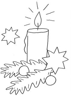 Christmas: Free coloring page: Christmas candle for coloring - Joyeuxx Noel 2020 Christmas Candle, Christmas Art, Coloring Pages For Kids, Coloring Books, Windows Color, Diy And Crafts, Crafts For Kids, Beautiful Candles, Hand Embroidery Patterns