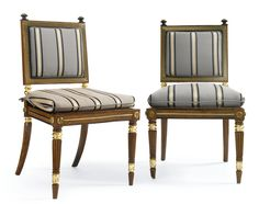 A pair of Regency ormolu-mounted brass-inlaid ebony and oak caned side chairs<br>circa 1815, Attributed to George Bullock | lot | Sotheby's