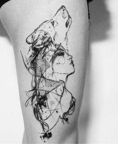 woman wolf | Tatuagem.com (tatuagens, tattoo)