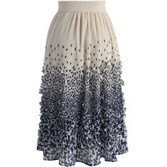 Chicwish Clover Rain Pleated Crepe Midi Skirt ($45) ❤ liked on Polyvore featuring skirts, beige, beige midi skirt, midi skirt, beige skirt, knee length pleated skirt and calf length skirts