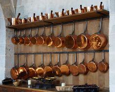 キッチン, 銅, ポット, フライパン, シェルフ, 内部, インテリア, ぶら下げ, 調理道具
