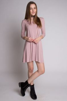 f5c64e4604824 This mauve swing dress would look adorable with some tights! Ragstock