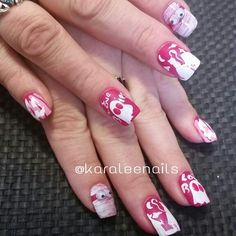 Pink halloween nails by me for bca breast Cancer awareness nails