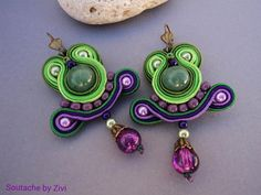 small soutache earrings with jade beads in green and purple