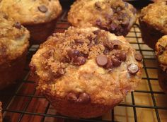Skinny Banana Nut Muffins with Chocolate Chip Streusel
