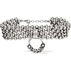 DANNIJO Dominica oxidized silver-plated choker ($530) ❤ liked on Polyvore featuring jewelry, necklaces, bead chain necklace, layered pendant necklace, multi layer necklace, dannijo jewelry and choker pendants