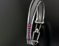 Woven Orbit Bracelet- Argentium Silver Bracelet, Red Spinel and Ruby Bracelet