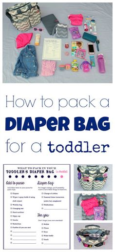 How to pack the perfect diaper bag for a toddler. Includes a free printable checklist so you don't forget any essentials. I include tips for packing toddler items in your own purse or for packing an actual diaper bag. Includes pictures of everything I inc Diaper Bag Checklist, Diaper Bag Essentials, Baby Checklist, Baby Dress Online, Baby Online, Dresses Online, Toddler Diaper Bag, Diaper Bags, Diaper Bag List
