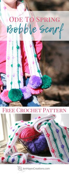 Ode to Spring Crochet Bobble Scarf | A Free Pattern by Jen Hayes Creations
