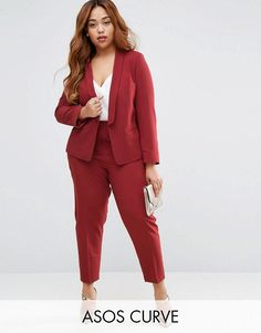 Buy ASOS CURVE Crepe Suit in Dusky Plum at ASOS. Get the latest trends with ASOS now. Formal Pants Women, Suits For Women, Clothes For Women, Plus Size Suits, Look Plus Size, Plus Size Fashion For Women, Plus Size Women, Plus Size Business Attire, Job Interview Attire