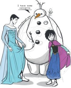 Awww!!! big hero 6!! tadashi as elsa hiro as anna and baymax as olaf<3