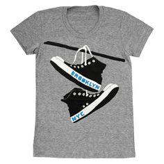 Converse - Womens Brooklyn New York NY NYC Shoes Retro Vintage Grey Triblend Track Chuck Taylor Cute GrayGirls T-shirt Tee Shirt Tshirt