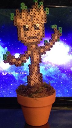 Perler Bead Potted Groot by TriforceInk on Etsy https://www.etsy.com/listing/177091650/perler-bead-potted-groot