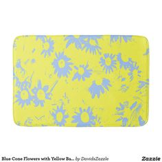 Blue Cone Flowers with Yellow Background Bath Mat  Available on more products, type in the name of this design in the search bar on my products page to view them all!  #daisy #calendula #shasta #cone #floral #flower #yellow ##blue #pattern #print #all #over #abstract #plant #nature #earth #life #style #lifestyle #chic #modern #contemporary #home #decor #accent #decorate