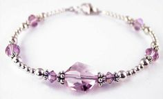 June Alexandrite June Birthstone Sterling Silver Swarovski Crystal Handmade Beaded Bracelets -