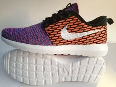 uk availability 0ac05 149b1 Nike Womens Roshe Run Black Shoes 2015 New Flynit New Orange Purple Half