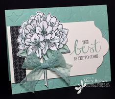 """stampercamper.com - For the Saturday Create with Connie and Mary Design Team Blog Hop we picked the new incolor Mint Macaron. Each of the design team members created a project using this color. I just LOVE this flower in the new hostess set """"Best Thoughts"""" and thought it would be perfect for my Mint Macaron card! All the details and to do the hop, check out my blog. Set: Best Thoughts"""