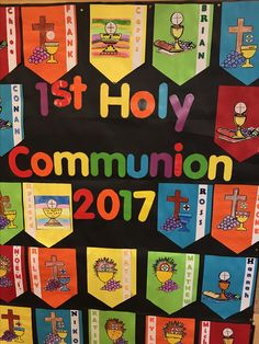 first holy communion art ideas for teachers First Communion Banner, First Holy Communion, Communion Banners, Catholic Religious Education, Religious Studies, Catholic Mass, Sunday School Crafts, School Fun, School Ideas