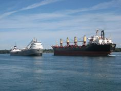 Happy Double Freighter Friday from Sault Ste. Marie, Michigan! Join us during the warmer months to see giant freighters just like these travel through the Soo Locks. Pictures don't do them justice!