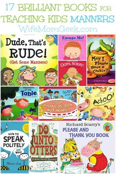 17 Brilliant books to teach children manners @wifemomgeek // 17 cuentos para enseñarle buenos modales a los niños/as