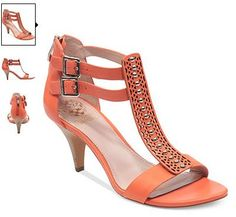 Vince Camuto Shoes, Mayler Mid Heel T-Strap Sandals in Coral - $110