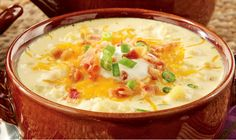 "Loaded ""Baked Potato"" Soup Give the stove the night off with this easy microwave recipe. You can sit down to a bowl of creamy, bacon-y potato soup in half an hour."