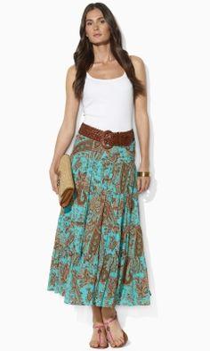 201f149c66 Tiered Paisley Skirt - Lauren Petite Long Skirts - RalphLauren.com Petite  Long Skirts,