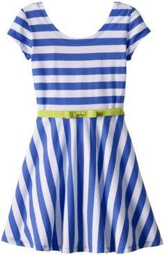 Derek Heart Girl Girls 7-16 Striped Fit N Flare Dress, Regatta/White, Small - http://www.immmb.com/women-clothing/derek-heart-girl-girls-7-16-striped-fit-n-flare-dress-regattawhite-small.html/