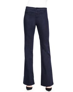 Tailored+High-Rise+Flared+Denim+Trouser+by+J+Brand+Jeans+at+Neiman+Marcus.