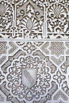 Close up of a plaster wall in the Alhambra Palace, Granada, Andalucía, Spain. http://www.costatropicalevents.com/en/costa-tropical-events/andalusia/cities/granada.html