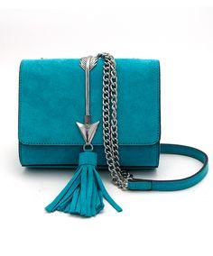 Turquoise Suede Crossbody Handbag with Arrow at Maverick Western Wear